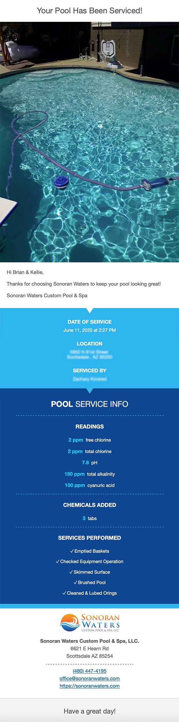 weekly pool service report - sonoran waters